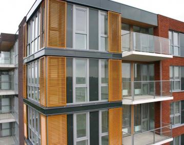 aluminium external shutters on bulding